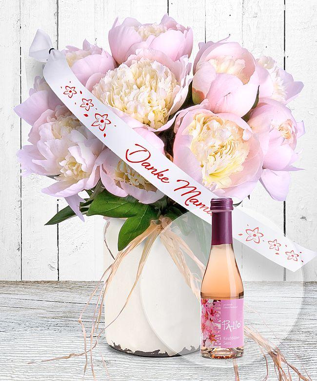 10 Pfingstrosen Rosa Und Schleife Danke Mama Und Kirschbluten