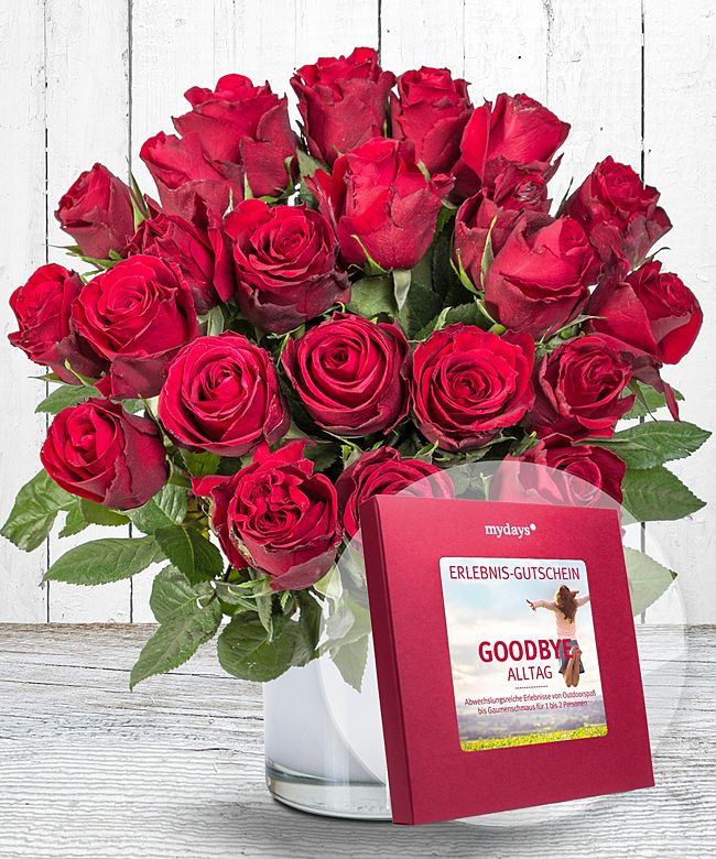 23 rote rosen und mydays box goodbye alltag jetzt bestellen bei valentins valentins. Black Bedroom Furniture Sets. Home Design Ideas