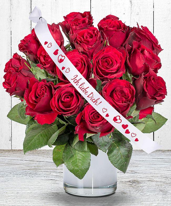 18 Rote Rosen Und Schleife Ich Liebe Dich Jetzt Bestellen Bei