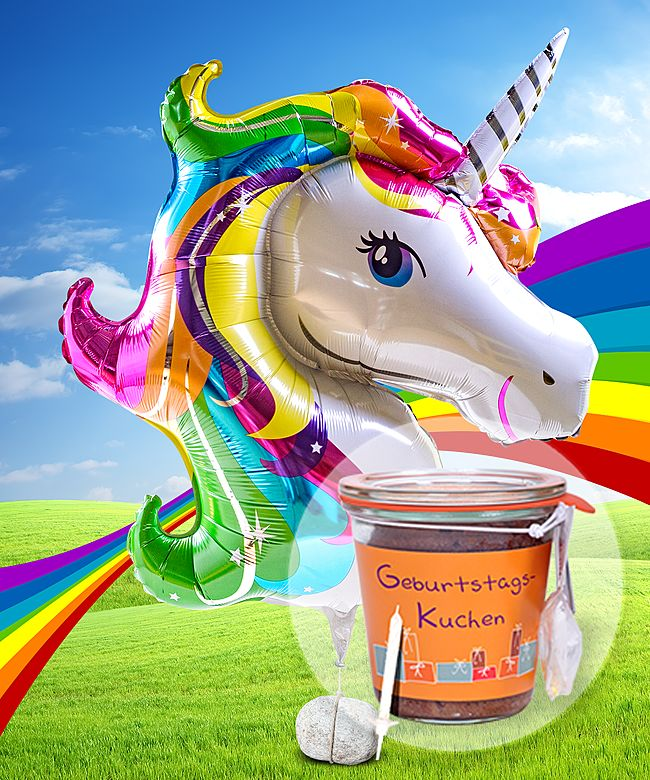 Riesenballon Einhorn Glitter Und Kuchen Im Glas Geburtstag Jetzt