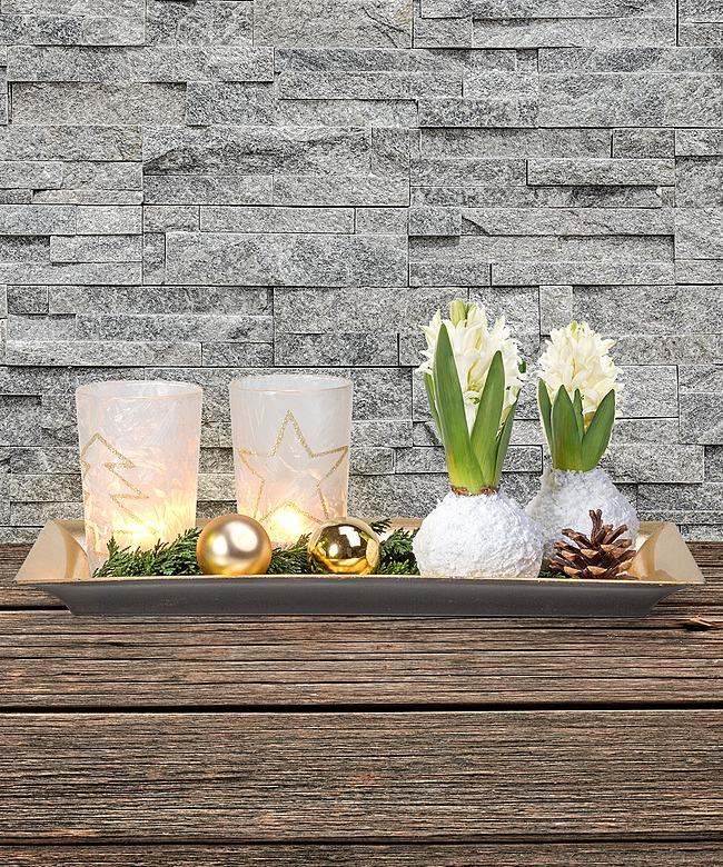 beschneite hyazinthen zwiebeln mit advents deko auf tablett jetzt bestellen bei valentins. Black Bedroom Furniture Sets. Home Design Ideas