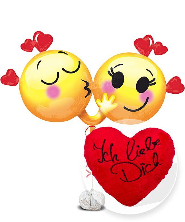 Riesenballon Emojis in Love und Kuschel-Herz Ich liebe Dich - jetzt bestellen bei Valentins
