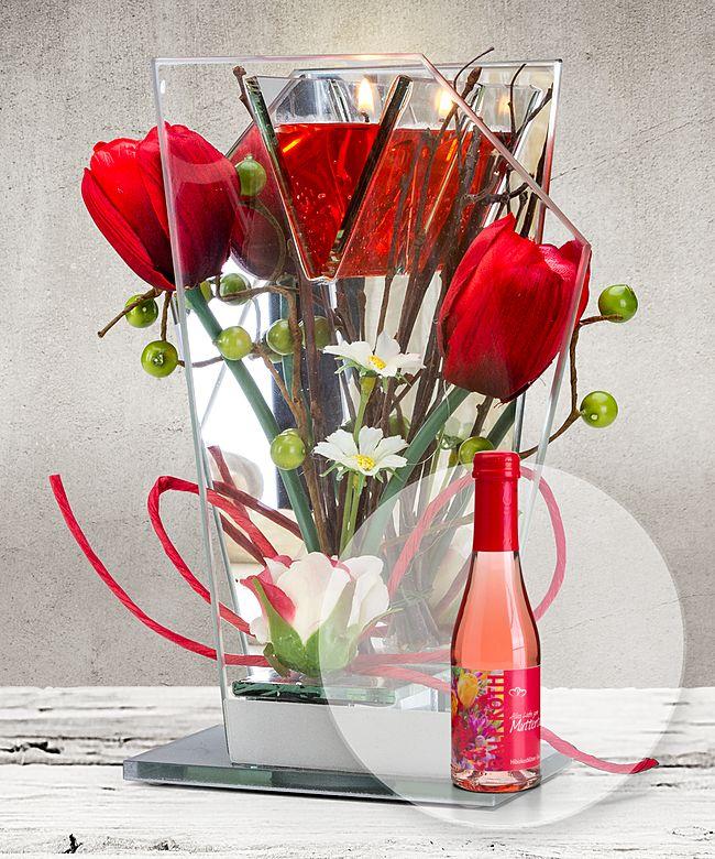 Glas Spiegel Windlicht Mit Roter Blumen Deko Und Led Und Piccolo