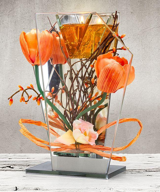 Glas Spiegel Windlicht Mit Orangefarbener Blumen Deko Und Led