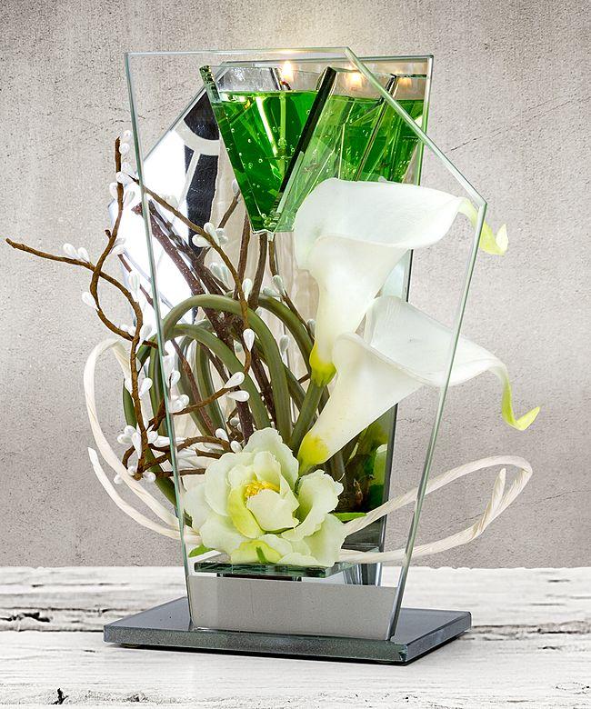 Glas Spiegel Windlicht Mit Blumen Deko Und Led Jetzt Bestellen Bei