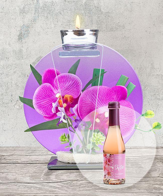 Glas windlicht mit orchideen deko und kirschbl ten secco jetzt bestellen bei valentins - Orchideen deko ...