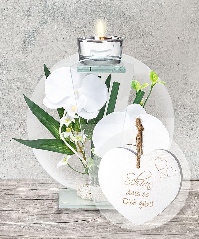 Glas Windlicht Mit Weisser Orchideen Deko Und Vintage Herz Schon