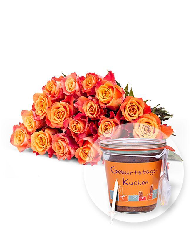 18 Gelb Orangefarbene Rosen Und Kuchen Im Glas Geburtstag