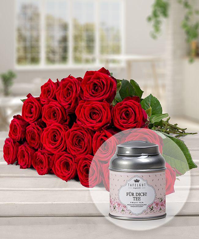 20 langstielige rote premium rosen und f r dich tee jetzt bestellen bei valentins valentins. Black Bedroom Furniture Sets. Home Design Ideas