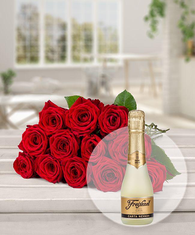 12 langstielige rote premium rosen und freixenet semi seco jetzt bestellen bei valentins. Black Bedroom Furniture Sets. Home Design Ideas