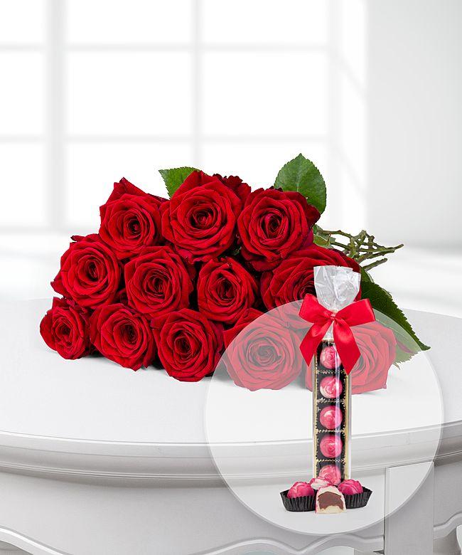 12 langstielige rote premium rosen und rosen pralinen jetzt bestellen bei valentins. Black Bedroom Furniture Sets. Home Design Ideas