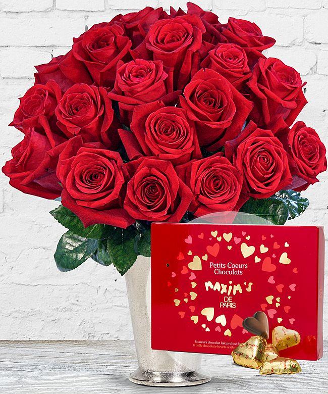 20 langstielige rote premium rosen und schokoladen herzen jetzt bestellen bei valentins. Black Bedroom Furniture Sets. Home Design Ideas