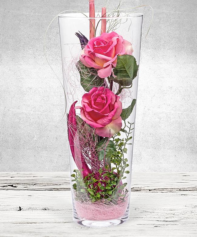 deko vase rosen rosa 40cm jetzt bestellen bei valentins valentins blumenversand blumen. Black Bedroom Furniture Sets. Home Design Ideas