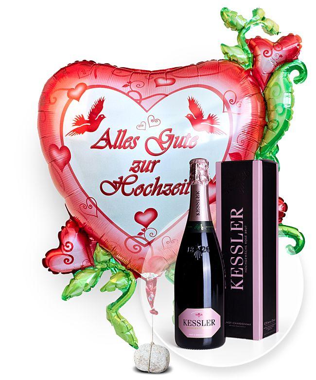 Riesenballon Alles Gute Zur Hochzeit Und Kessler Rose Sekt