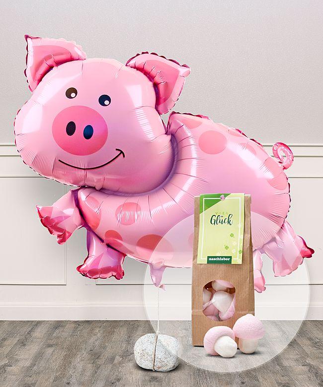Ballon Glucksschweinchen Und Marshmallows Viel Gluck Jetzt